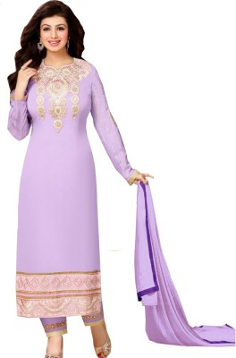 Anjnee Georgette, Satin Embellished, Embroidered, Applique Semi-stitched Salwar Suit Dupatta Material