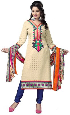Kunjal Fashion World Cotton Polyester Blend Printed Salwar Suit Dupatta & Waistcoat Material