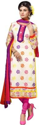 Elevate Women Chanderi Embroidered Semi-stitched Salwar Suit Dupatta Material