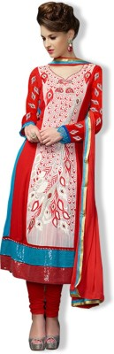 OrangeFab Georgette, Viscose Embroidered Semi-stitched Salwar Suit Dupatta Material