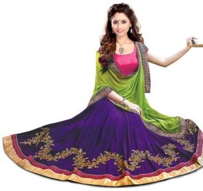 Colour Trendz Georgette Embroidered Semi-stitched Lehenga Choli Material