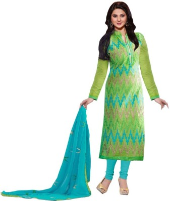 Amelliaz Chanderi Embroidered Semi-stitched Salwar Suit Dupatta Material