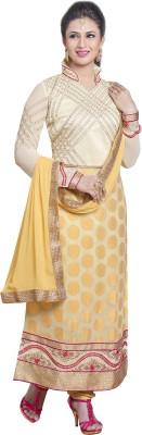 JS Pavitra Fabrics Crepe, Jacquard Embroidered, Embellished Salwar Suit Dupatta Material