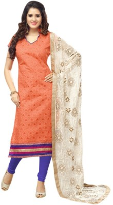 Viha Chanderi Embroidered Salwar Suit Dupatta Material
