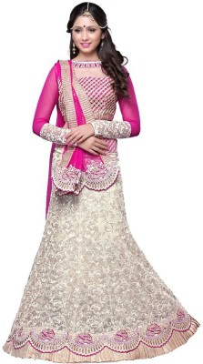 J AND J FASHION Net Embroidered Lehenga Choli Material