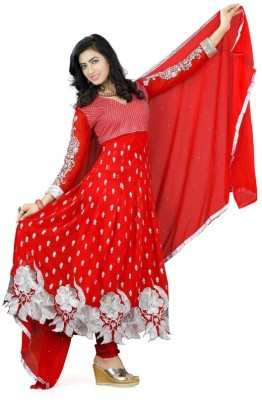 Mert India Brasso Embroidered Semi-stitched Salwar Suit Dupatta Material