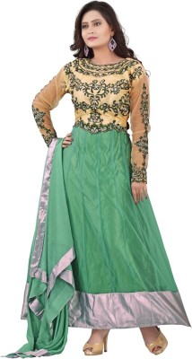 Swami Georgette Embroidered Semi-stitched Salwar Suit Dupatta Material