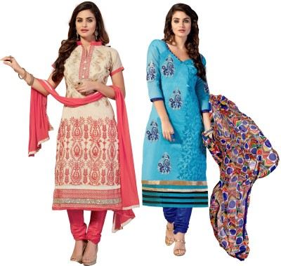 Fabgruh Chanderi Self Design, Embroidered Salwar Suit Dupatta Material