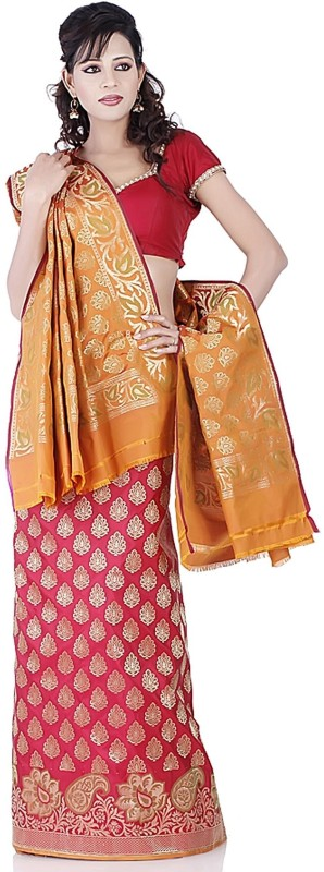Chhabra 555 Polyester Printed Lehenga Choli Material(Un-stitched)