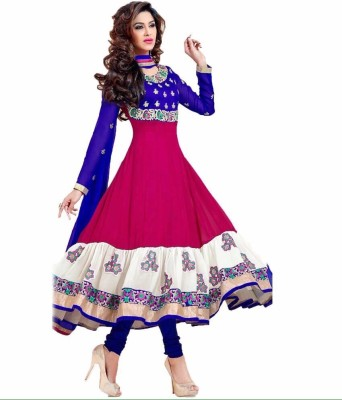 Fabviva Chiffon Embroidered Semi-stitched Salwar Suit Dupatta Material