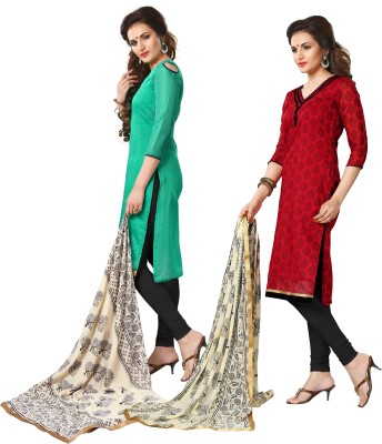 Kashish Lifestyle Cotton Self Design Salwar Suit Dupatta Material
