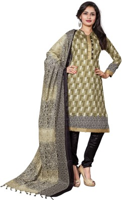 The Fashion World Chanderi Printed Semi-stitched Salwar Suit Dupatta Material