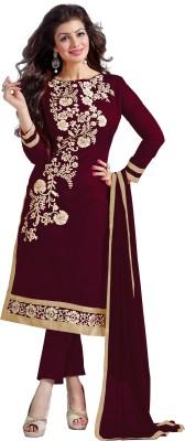Fabliva Chanderi Embroidered Semi-stitched Salwar Suit Dupatta Material