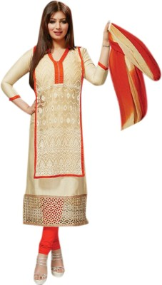 Khantil Clothing Cotton Embroidered Semi-stitched Salwar Suit Dupatta Material