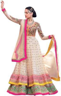 Zfashion Georgette Embroidered Semi-stitched Salwar Suit Dupatta Material at flipkart