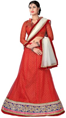 Khushali Net Self Design, Embroidered, Embellished Semi-stitched Lehenga Choli Material