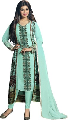 Desi Look Net Embroidered Semi-stitched Salwar Suit Dupatta Material