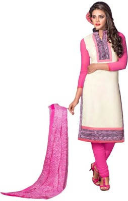 FR Chanderi, Cotton Self Design Semi-stitched Salwar Suit Dupatta Material