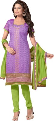 Style Mania Silk Embroidered Salwar Suit Material