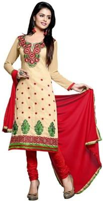 Mandani Fashion Chanderi Embroidered Semi-stitched Salwar Suit Dupatta Material