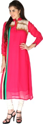 Aanchal Georgette Embroidered, Solid Kurti Fabric