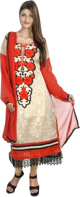 Priti & Sunny Chanderi Embroidered Semi-stitched Salwar Suit Dupatta Material