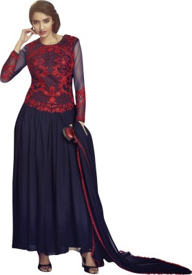 Vishal Prints Chiffon Embroidered Semi-stitched Salwar Suit Material