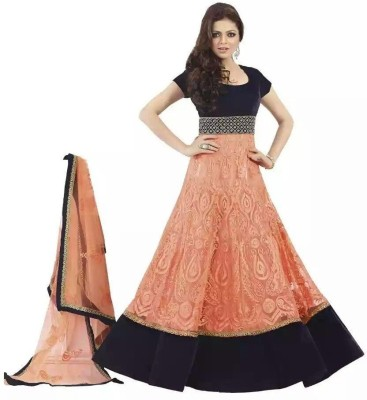 Nrv Creation Georgette, Net Embroidered Semi-stitched Salwar Suit Dupatta Material