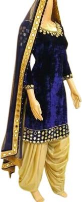 LongFashion Velvet Embroidered Semi-stitched Salwar Suit Dupatta Material