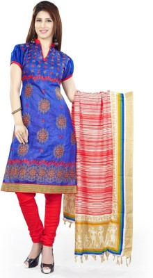 Li Te Ra Chanderi Embroidered Semi-stitched Salwar Suit Material