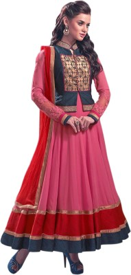 Fabliva Georgette Embroidered Semi-stitched Salwar Suit Material