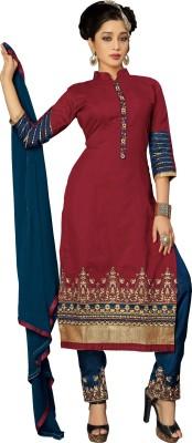 Fashion Spot Chanderi Embroidered Semi-stitched Salwar Suit Dupatta Material