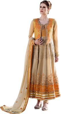 OrangeFab Viscose, Georgette Embroidered, Embellished Semi-stitched Salwar Suit Dupatta & Waistcoat Material
