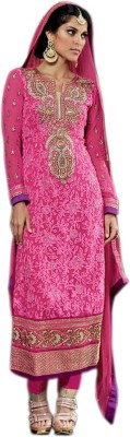 KP Bazar Georgette Embroidered Semi-stitched Salwar Suit Dupatta Material
