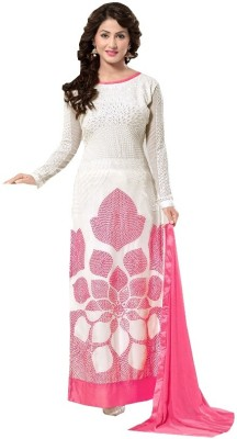 DealSeven Fashion Georgette Embroidered Semi-stitched Salwar Suit Dupatta Material