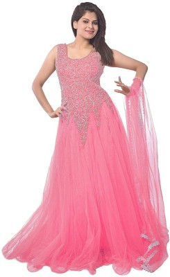 Aahira Net Self Design Semi-stitched Gown