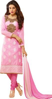 Thankar Cotton Embroidered Semi-stitched Salwar Suit Dupatta Material