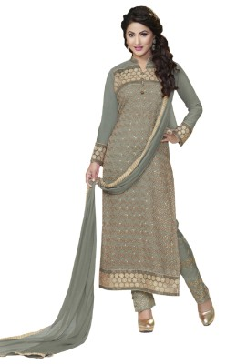 Shahhlon Georgette, Chiffon Embroidered Semi-stitched Salwar Suit Dupatta Material