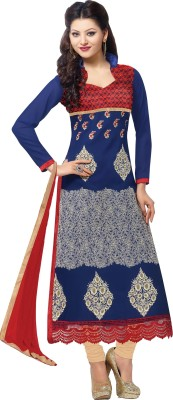 Shoponbit Georgette Embroidered Semi-stitched Salwar Suit Dupatta Material