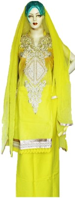 Vincy Cotton, Lace Embroidered Semi-stitched Salwar Suit Dupatta Material