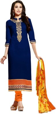 HSFS Cotton Embroidered Semi-stitched Salwar Suit Dupatta Material