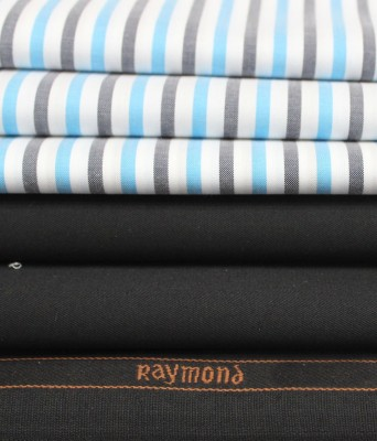 Raymond Home Cotton Polyester Blend Striped Shirt & Trouser Fabric