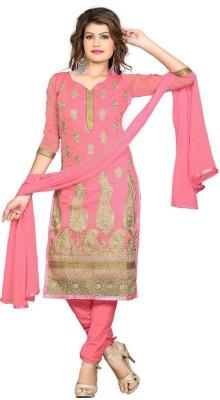 Sunrise International Chanderi Embroidered Semi-stitched Salwar Suit Dupatta Material