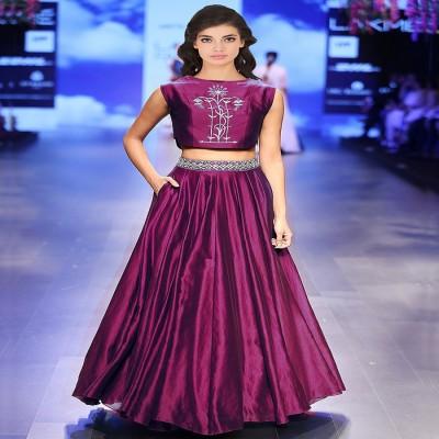 Adorn Fashion Silk Embroidered Semi-stitched Lehenga Choli Material