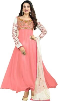 MySarees Georgette Embroidered Semi-stitched Salwar Suit Dupatta Material