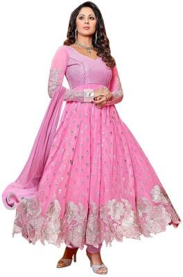AzyFabrics Georgette Embroidered Salwar Suit Dupatta Material