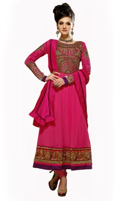 Anarkali Plus Georgette Self Design, Solid Semi-stitched Salwar Suit Dupatta Material