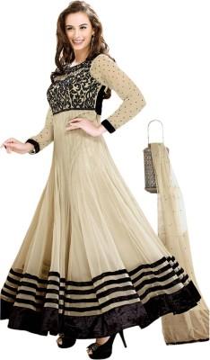 Famefituar Georgette Embroidered Semi-stitched Salwar Suit Dupatta Material