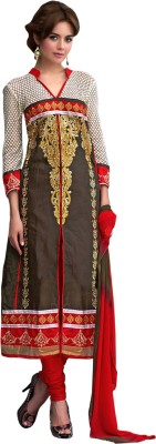 Fabliva Cotton Embroidered Semi-stitched Salwar Suit Dupatta Material
