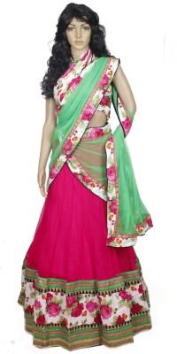 Gurukrupa Net Self Design Semi-stitched Lehenga Choli Material